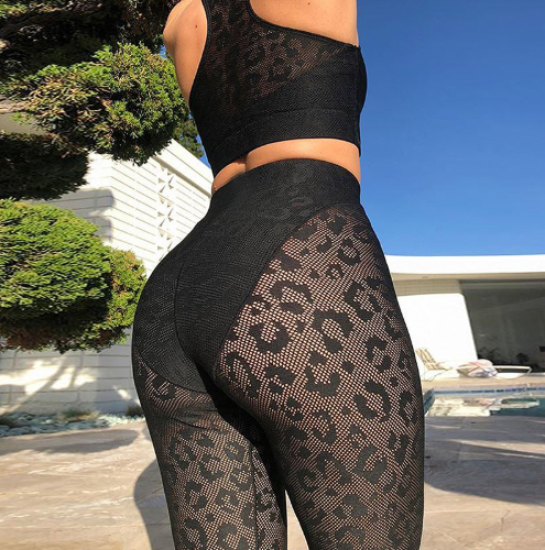 leopard yoga set outdoor