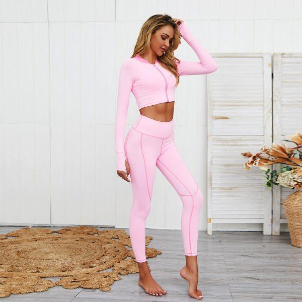 zipper yoga set pink model