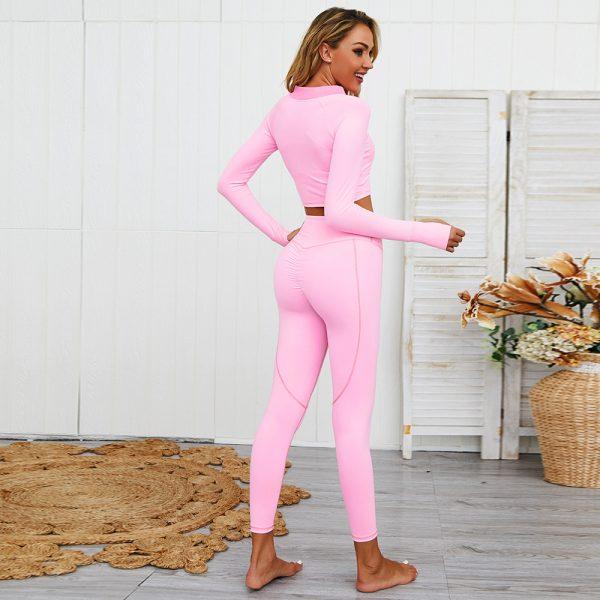 zipper yoga set pink home